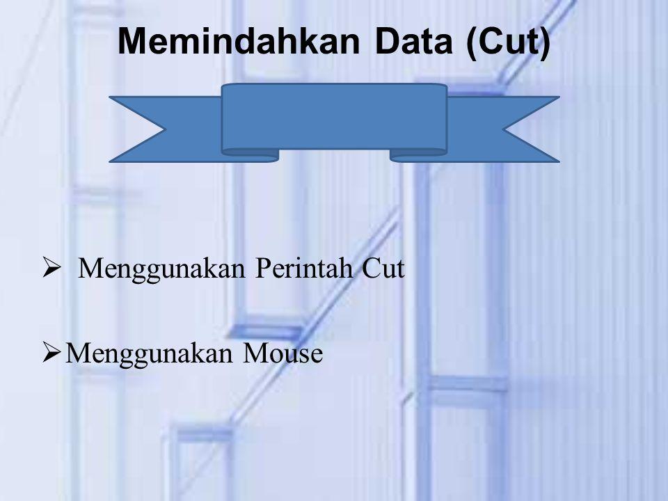 Memindahkan Data (Cut)  Menggunakan Perintah Cut  Menggunakan Mouse