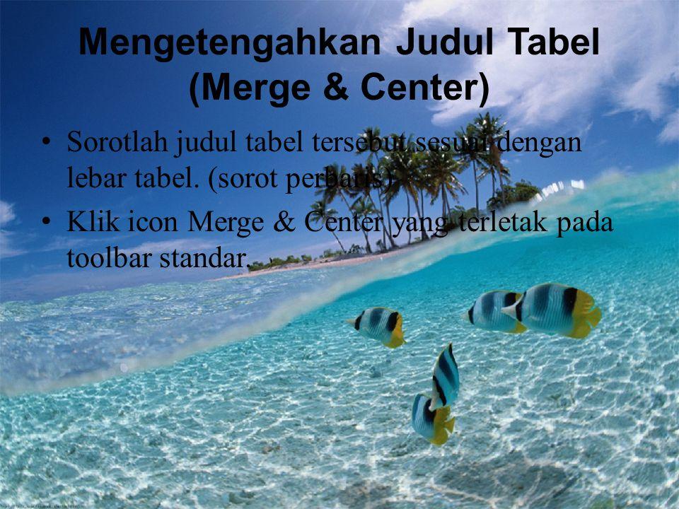 Mengetengahkan Judul Tabel (Merge & Center) Sorotlah judul tabel tersebut sesuai dengan lebar tabel. (sorot perbaris) Klik icon Merge & Center yang te