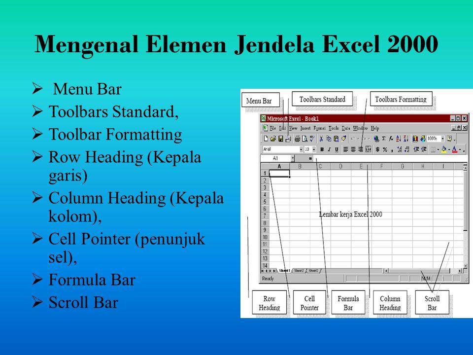 Mengakhiri Excel 2000 Pilih dan Klik File, Exit, atau Klik tombol Close (X) yang terletak pada pojok kanan atas jendela Excel 2000 Klik ganda Icon kontrol menu yang berada pada pojok kiri atas jendela excel 2000 Tekan tombol Alt+F4