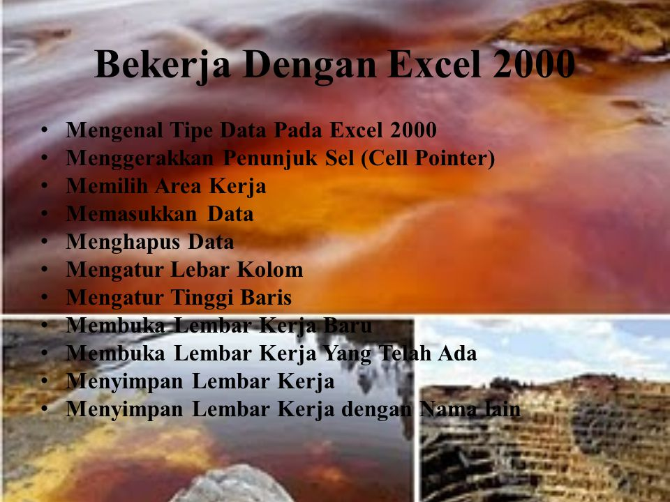 Bekerja Dengan Excel 2000 Mengenal Tipe Data Pada Excel 2000 Menggerakkan Penunjuk Sel (Cell Pointer) Memilih Area Kerja Memasukkan Data Menghapus Dat