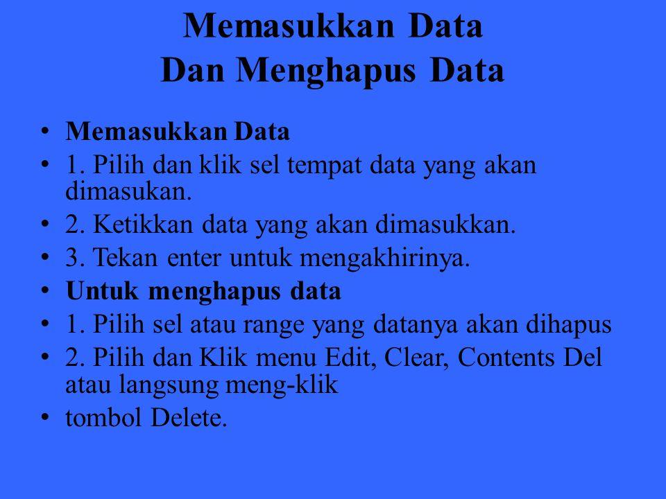Memasukkan Data Dan Menghapus Data Memasukkan Data 1. Pilih dan klik sel tempat data yang akan dimasukan. 2. Ketikkan data yang akan dimasukkan. 3. Te