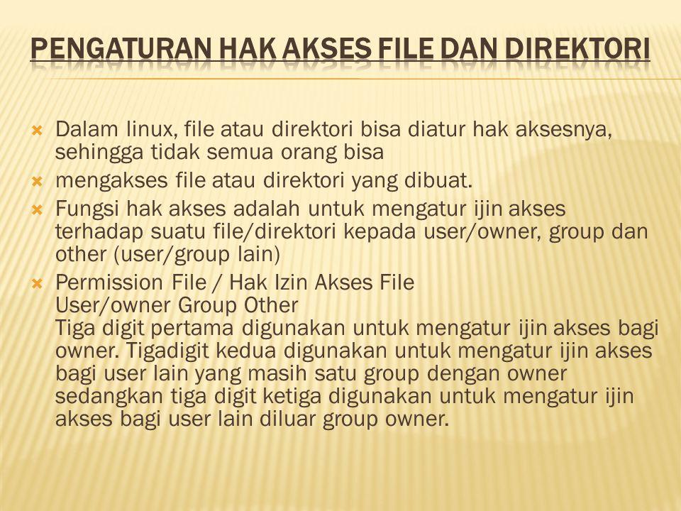 Dalam linux, file atau direktori bisa diatur hak aksesnya, sehingga tidak semua orang bisa  mengakses file atau direktori yang dibuat.  Fungsi hak