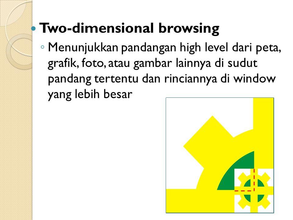 Two-dimensional browsing ◦ Menunjukkan pandangan high level dari peta, grafik, foto, atau gambar lainnya di sudut pandang tertentu dan rinciannya di window yang lebih besar