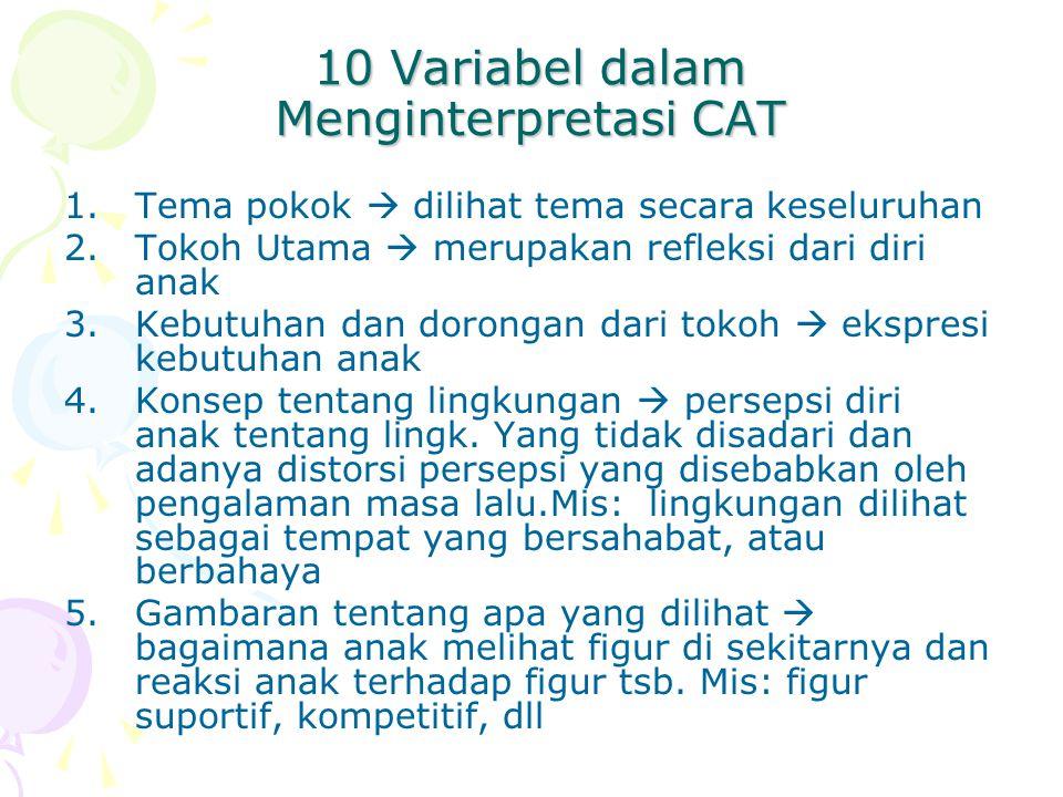 10 Variabel dalam Menginterpretasi CAT 1.Tema pokok  dilihat tema secara keseluruhan 2.Tokoh Utama  merupakan refleksi dari diri anak 3.Kebutuhan da