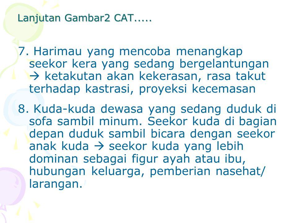 Lanjutan Gambar2 CAT..... 7. Harimau yang mencoba menangkap seekor kera yang sedang bergelantungan  ketakutan akan kekerasan, rasa takut terhadap kas