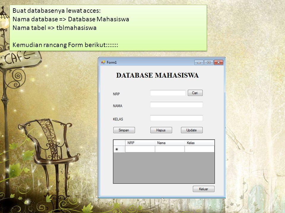 Buat databasenya lewat acces: Nama database => Database Mahasiswa Nama tabel => tblmahasiswa Kemudian rancang Form berikut::::::: Buat databasenya lew