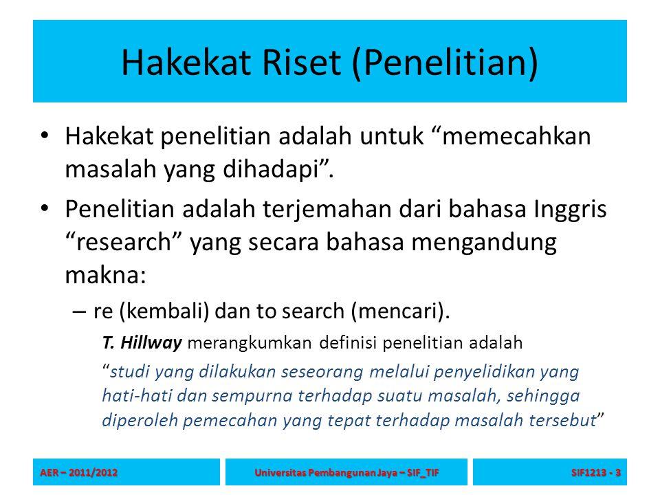 """Hakekat Riset (Penelitian) Hakekat penelitian adalah untuk """"memecahkan masalah yang dihadapi"""". Penelitian adalah terjemahan dari bahasa Inggris """"resea"""