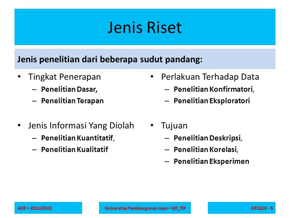 Referensi Ranjit Kumar, Research Methodology: A Step- by-Step Guide for Beginners , SAGE Publications Ltd, 2010 Romi Satri Wahono, Materi seri riset , Online: http://romisatriawahono.net/category/resear ch/ http://romisatriawahono.net/category/resear ch/ AER – 2011/2012 Universitas Pembangunan Jaya – SIF_TIF SIF1213 - 26