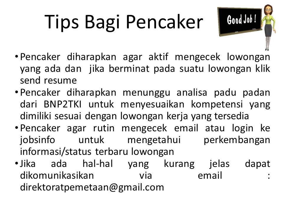 Pencaker diharapkan agar aktif mengecek lowongan yang ada dan jika berminat pada suatu lowongan klik send resume Pencaker diharapkan menunggu analisa