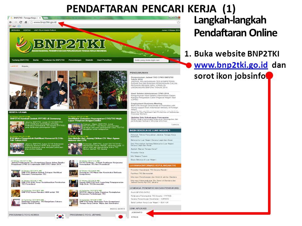 PENDAFTARAN PENCARI KERJA (1) Langkah-langkah Pendaftaran Online 1.Buka website BNP2TKI www.bnp2tki.go.id dan sorot ikon jobsinfo. www.bnp2tki.go.id