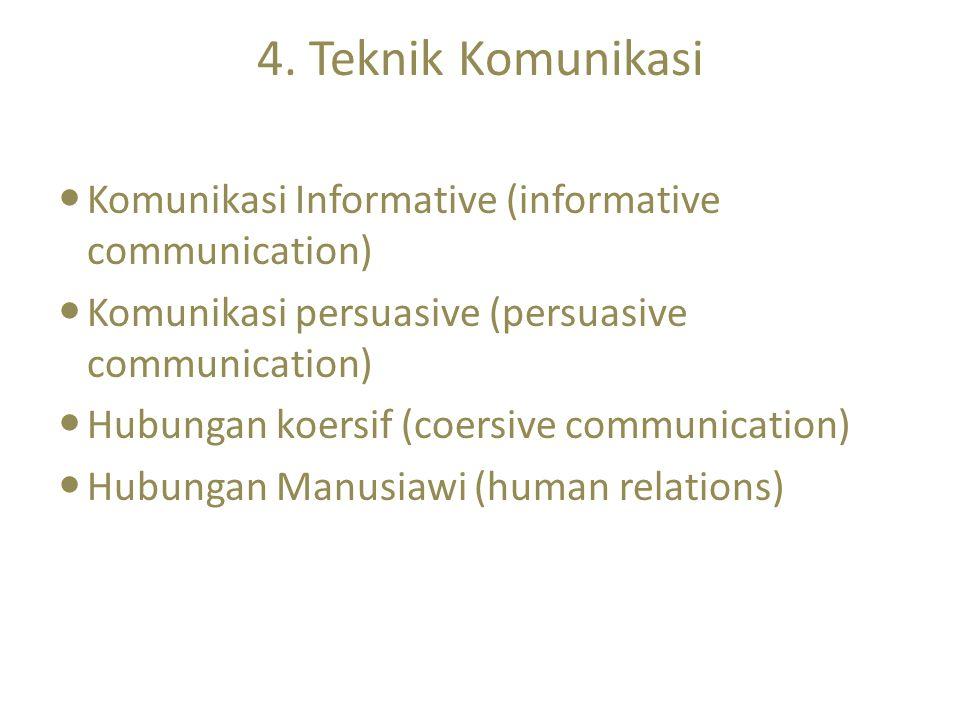 4. Teknik Komunikasi Komunikasi Informative (informative communication) Komunikasi persuasive (persuasive communication) Hubungan koersif (coersive co