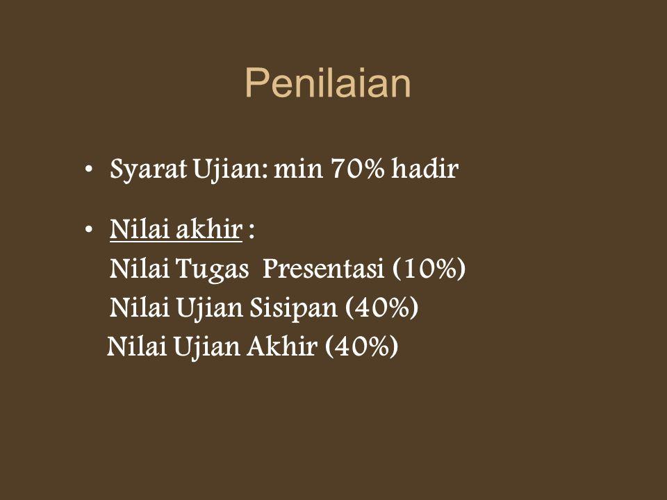 Penilaian Syarat Ujian: min 70% hadir Nilai akhir : Nilai Tugas Presentasi (10%) Nilai Ujian Sisipan (40%) Nilai Ujian Akhir (40%)
