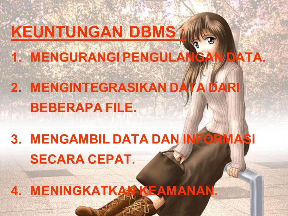 KEUNTUNGAN DBMS : 1.MENGURANGI PENGULANGAN DATA.2.MENGINTEGRASIKAN DATA DARI BEBERAPA FILE.
