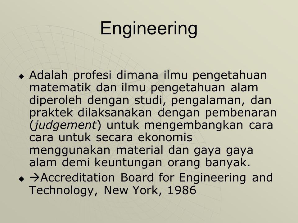 Engineering   Adalah profesi dimana ilmu pengetahuan matematik dan ilmu pengetahuan alam diperoleh dengan studi, pengalaman, dan praktek dilaksanakan dengan pembenaran (judgement) untuk mengembangkan cara cara untuk secara ekonomis menggunakan material dan gaya gaya alam demi keuntungan orang banyak.