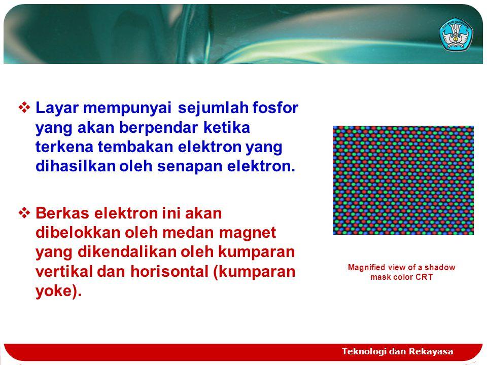 Teknologi dan Rekayasa  Layar mempunyai sejumlah fosfor yang akan berpendar ketika terkena tembakan elektron yang dihasilkan oleh senapan elektron. 