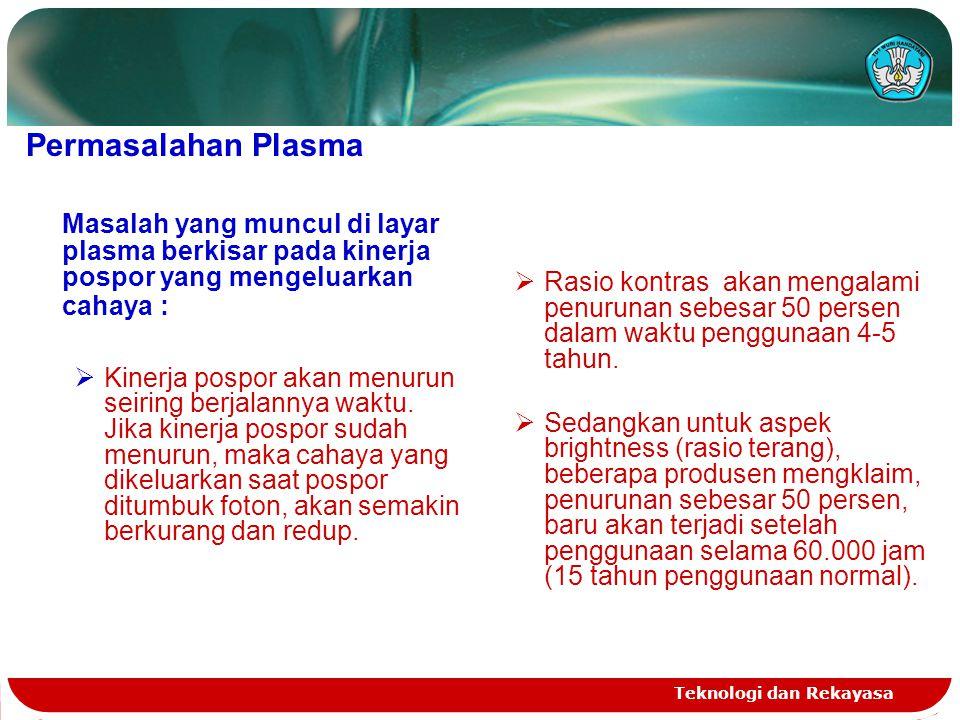 Teknologi dan Rekayasa Permasalahan Plasma Masalah yang muncul di layar plasma berkisar pada kinerja pospor yang mengeluarkan cahaya :  Kinerja pospo