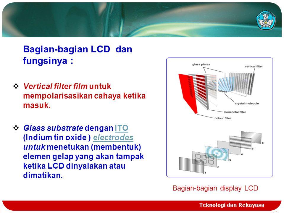 Teknologi dan Rekayasa Bagian-bagian LCD dan fungsinya :  Vertical filter film untuk mempolarisasikan cahaya ketika masuk.  Glass substrate dengan I