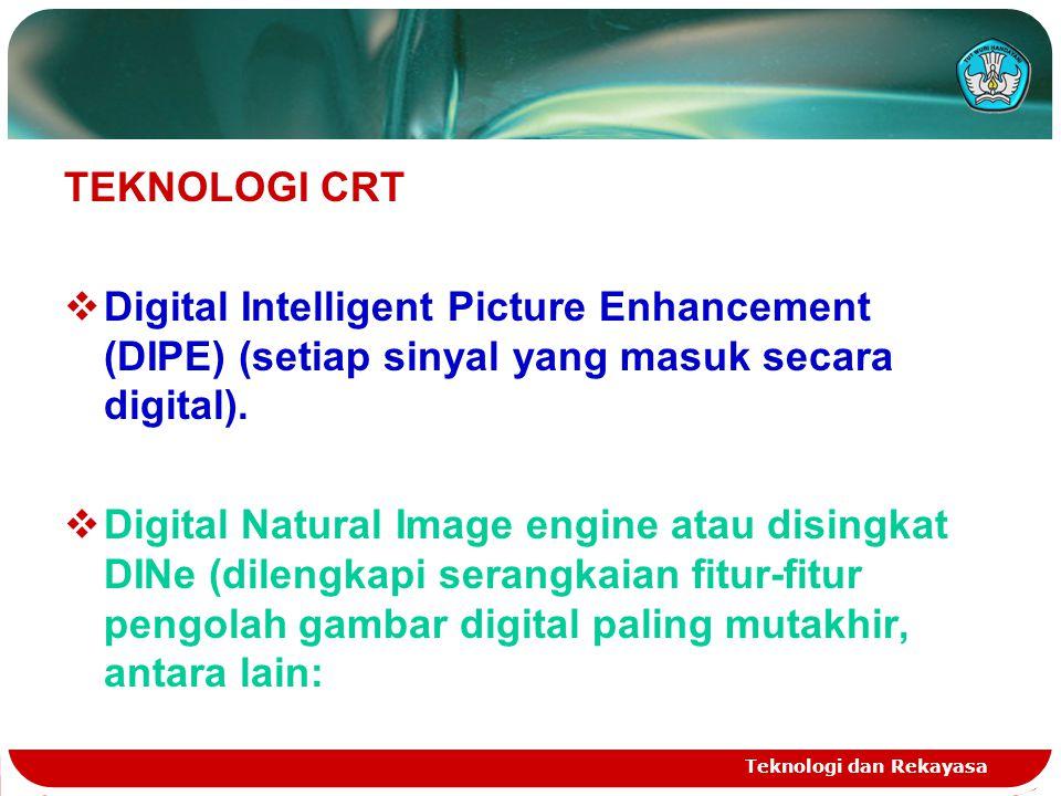 Teknologi dan Rekayasa TEKNOLOGI CRT  Digital Intelligent Picture Enhancement (DIPE) (setiap sinyal yang masuk secara digital).  Digital Natural Ima
