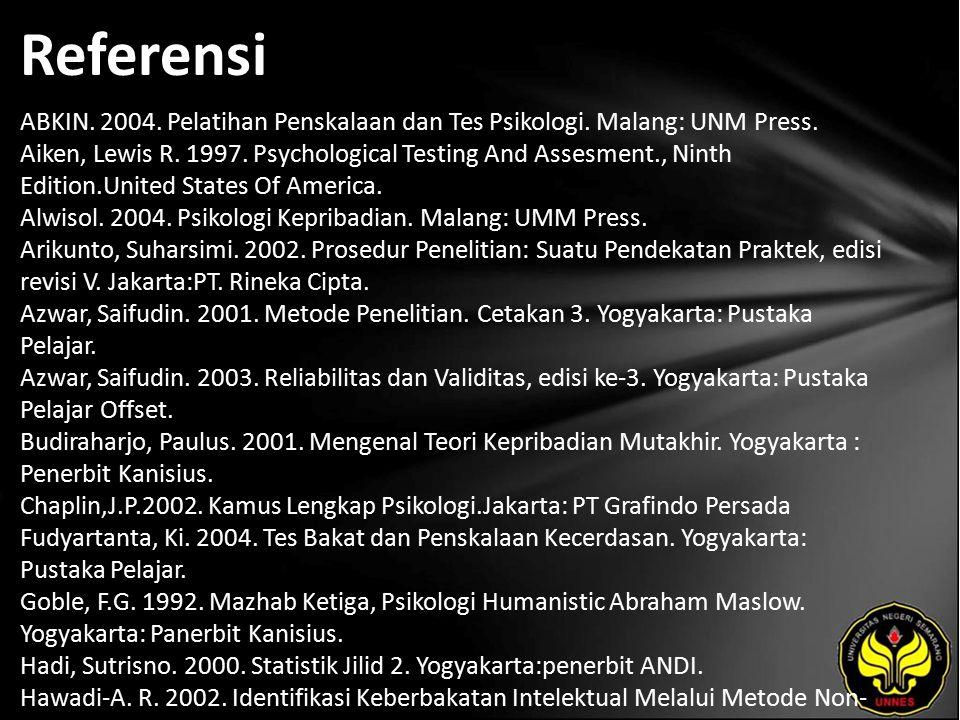 Referensi ABKIN. 2004. Pelatihan Penskalaan dan Tes Psikologi.