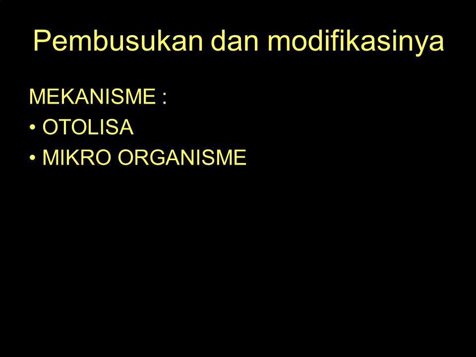 Pembusukan dan modifikasinya MEKANISME : OTOLISA MIKRO ORGANISME