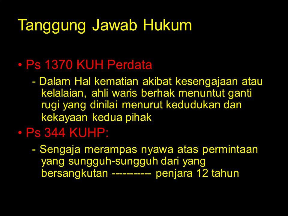 Tanggung Jawab Hukum Ps 1370 KUH Perdata : - Dalam Hal kematian akibat kesengajaan atau kelalaian, ahli waris berhak menuntut ganti rugi yang dinilai