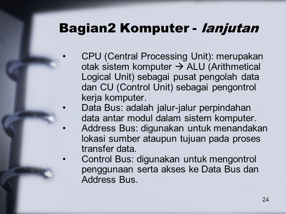 24 Bagian2 Komputer - lanjutan CPU (Central Processing Unit): merupakan otak sistem komputer  ALU (Arithmetical Logical Unit) sebagai pusat pengolah
