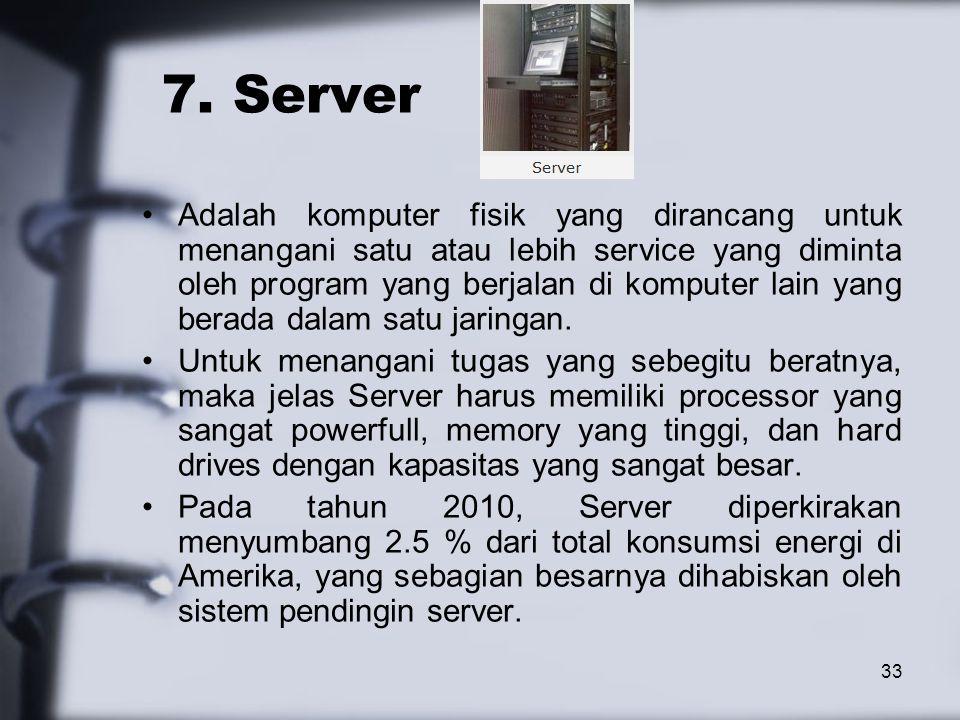 33 7. Server Adalah komputer fisik yang dirancang untuk menangani satu atau lebih service yang diminta oleh program yang berjalan di komputer lain yan