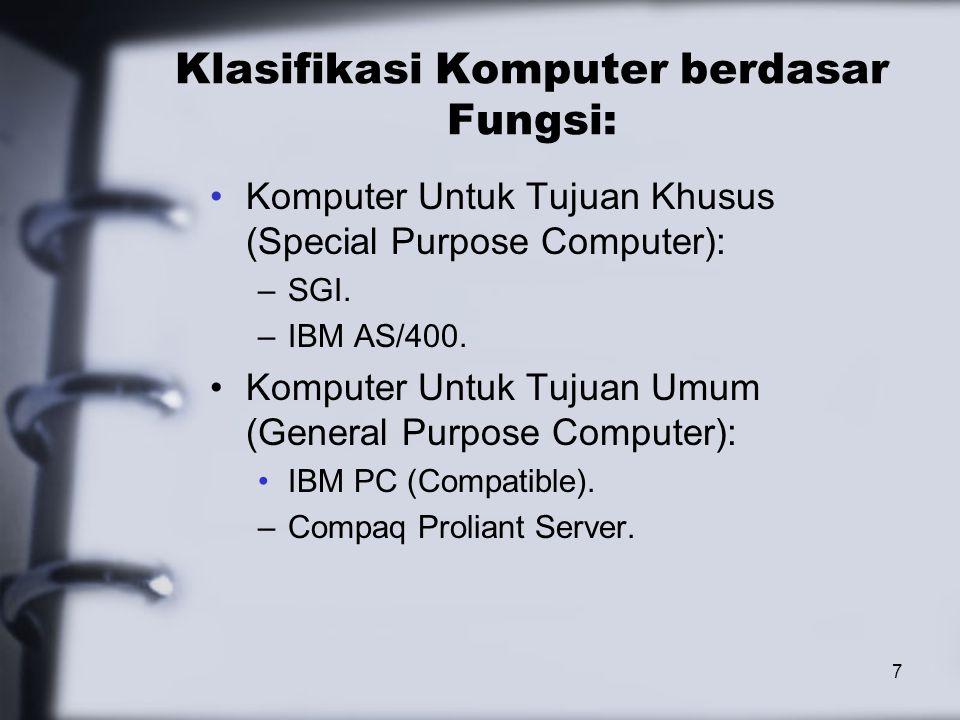 8 Klasifikasi Komputer berdasar Kapasitas dan Ukurannya: Komputer Mikro (Micro Computer) Komputer Mini (Mini Computer) Komputer Kecil (Small Computer) Komputer Menengah (Medium Computer) Komputer Besar (Large Computer) Komputer Super (Super Computer)