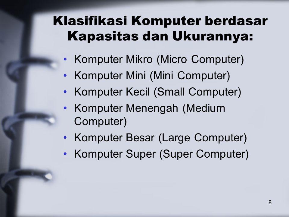 8 Klasifikasi Komputer berdasar Kapasitas dan Ukurannya: Komputer Mikro (Micro Computer) Komputer Mini (Mini Computer) Komputer Kecil (Small Computer)
