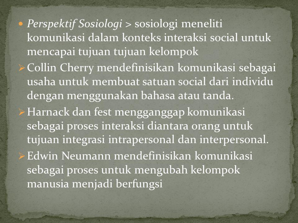 Perspektif Sosiologi > sosiologi meneliti komunikasi dalam konteks interaksi social untuk mencapai tujuan tujuan kelompok  Collin Cherry mendefinisikan komunikasi sebagai usaha untuk membuat satuan social dari individu dengan menggunakan bahasa atau tanda.