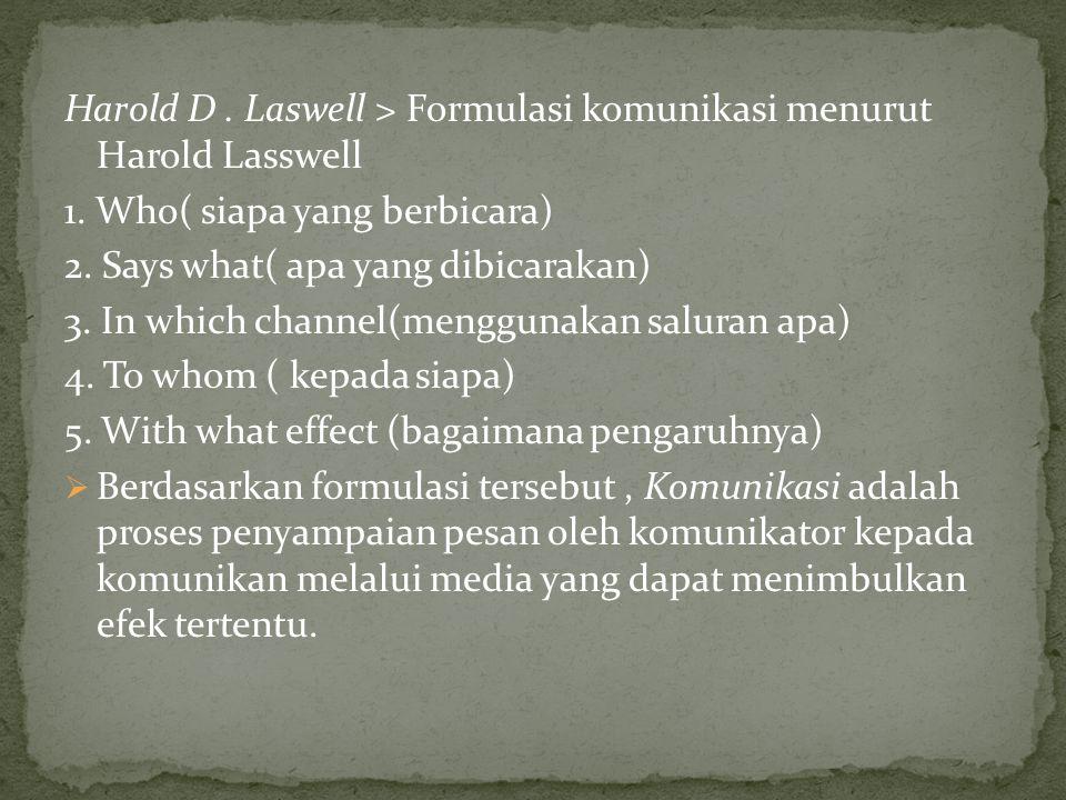 Harold D. Laswell > Formulasi komunikasi menurut Harold Lasswell 1. Who( siapa yang berbicara) 2. Says what( apa yang dibicarakan) 3. In which channel