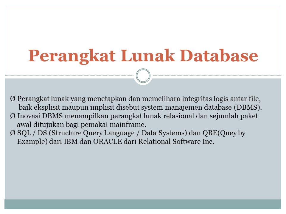 Perangkat Lunak Database Ø Perangkat lunak yang menetapkan dan memelihara integritas logis antar file, baik eksplisit maupun implisit disebut system m