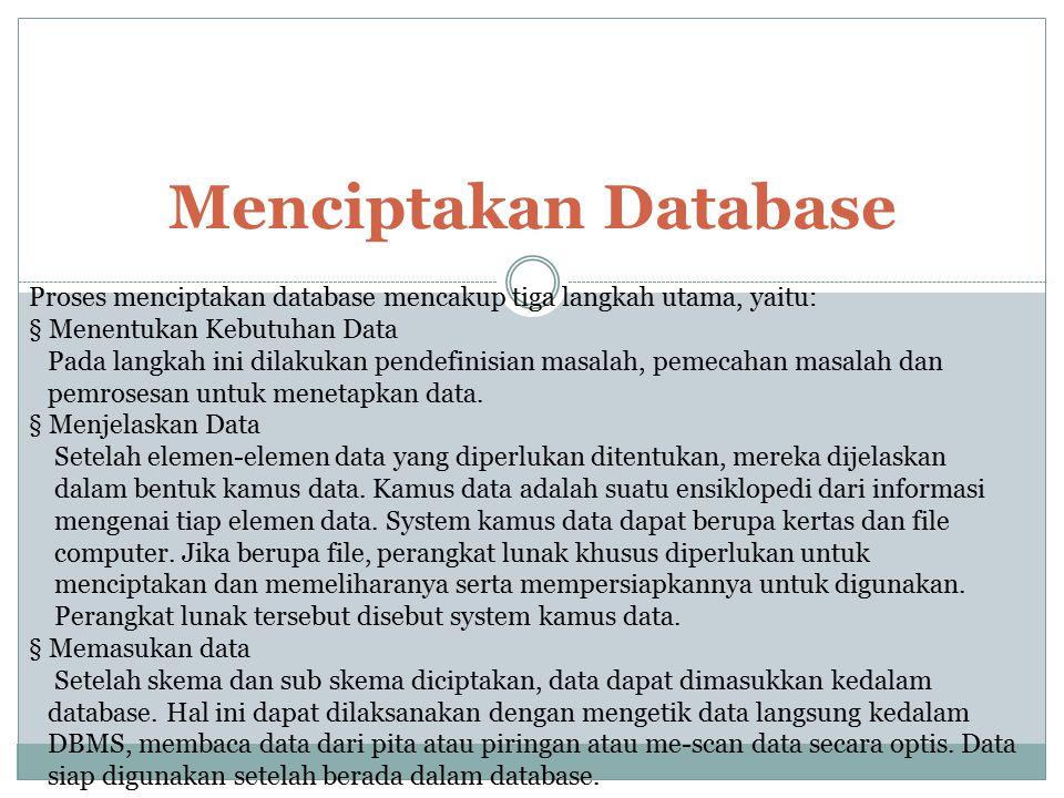 Menciptakan Database Proses menciptakan database mencakup tiga langkah utama, yaitu: § Menentukan Kebutuhan Data Pada langkah ini dilakukan pendefinis