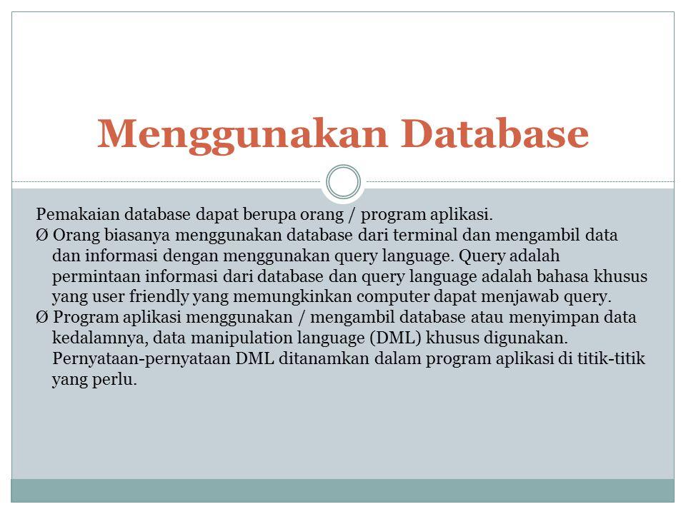 Menggunakan Database Pemakaian database dapat berupa orang / program aplikasi. Ø Orang biasanya menggunakan database dari terminal dan mengambil data