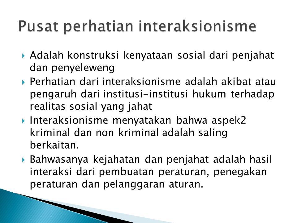  Adalah konstruksi kenyataan sosial dari penjahat dan penyeleweng  Perhatian dari interaksionisme adalah akibat atau pengaruh dari institusi-institu