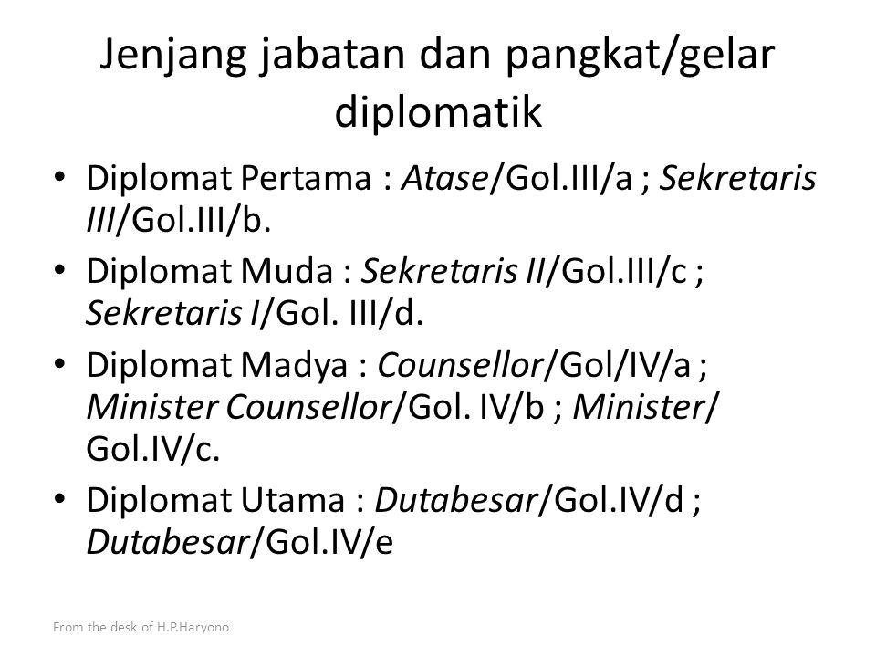 From the desk of H.P.Haryono Pejabat Dinas Luar Negeri Adalah Pegawai Negeri Sipil yang telah mengikuti pendidikan dan latihan khusus untuk bertugas di Departemen Luar Negeri dan Perwakilan Republik Indonesia (UU no 37 tahun 1999 tentang Hubungan Luar Negeri, Peraturan Menpan PER/87/ M.PAN/8/2005) Pendidikan berjenjang Departemen Luar Negeri terdiri dari Sekdilu, Sesdilu dan Sesparlu.