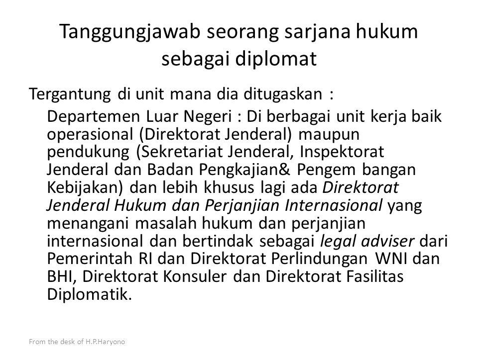 From the desk of H.P.Haryono Promoting adalah meningkatkan kerjasama antara Indonesia dengan negara penerima atau organisasi internasional di segala b