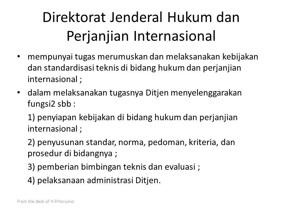 From the desk of H.P.Haryono Departemen Luar Negeri Sekretariat Jenderal Ditjen Aspasaf Ditjen Amerop Ditjen Kerjasama ASEAN Ditjen Multilateral Ditjen Hukum dan Perjanjian Internasional Ditjen Informasi dan Diplomasi Publik Ditjen Protokol dan Konsuler Inspektorat Jenderal Badan Pengkajian dan Pengembangan Kebijakan Staf Ahli