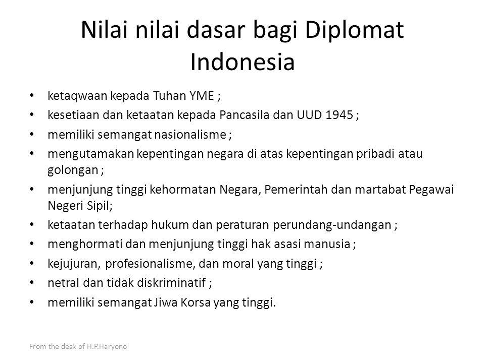 From the desk of H.P.Haryono Kementerian Luar Negeri sudah memiliki rancangan keputusan Menlu mengenai kode etik yang masih dalam pembahasan dan jika sudah tuntas akan menjadi kode etik yang berlaku bagi diplomat Indonesia.