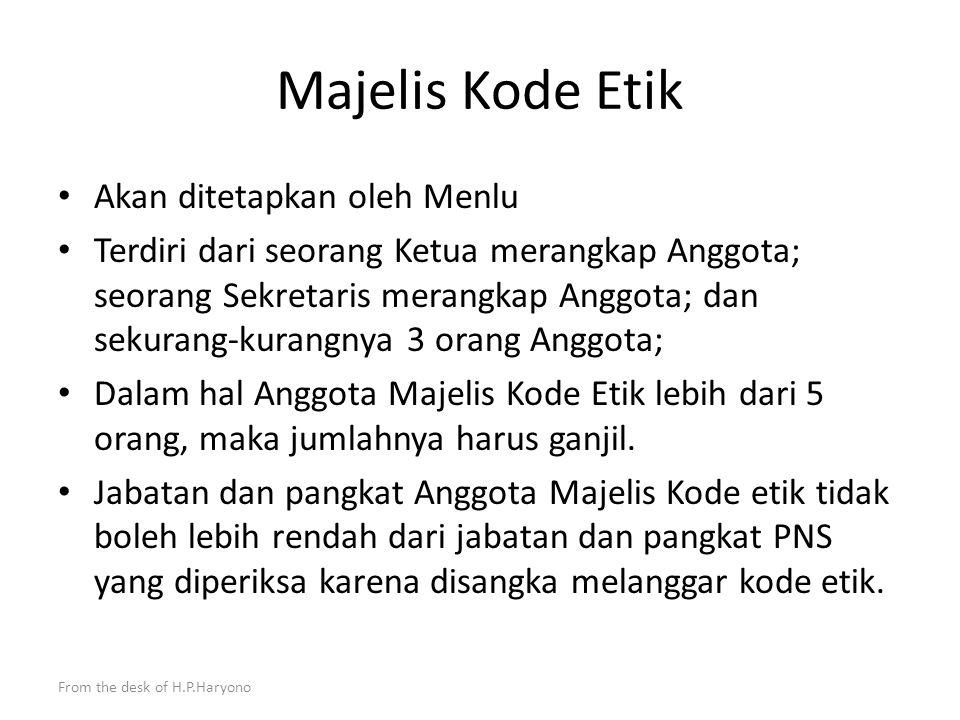 From the desk of H.P.Haryono Penegakan kode etik Diplomat Indonesia yang melakukan pelanggaran Kode Etik dikenakan sanksi moral ; Sanksi moral ini dib
