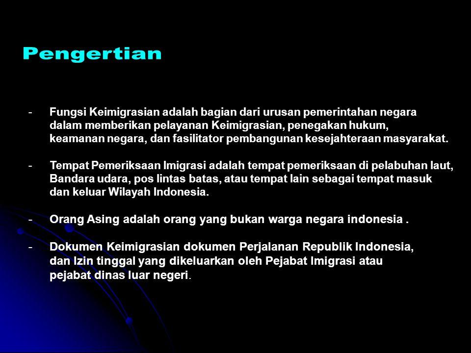 Undang-Undang Nomor 6 Tahun 2011 tentang Keimigrasian IZIN TINGGAL TETAP Pasal 54 (1)Izin Tinggal Tetap dapat diberikan kepada : a.Orang Asing pemegang Izin Tinggal terbatas sebagai rohaniawan, pekerja, investor, dan lanjut usia; b.keluarga karena perkawinan campuran; c.suami, istri, dan / atau anak dari Orang Asing pemegang Izin Tinggal Tetap; dan d.Orang Asing eks warga negara Indonesia dan eks subyek anak berkewarganegaraan ganda Republik Indonesia (2)Izin Tinggal Tetap sebagaimana dimaksud pada ayat (1) tidak diberikan kepada Orang Asing yang tidak memiliki paspor kebangsaan.