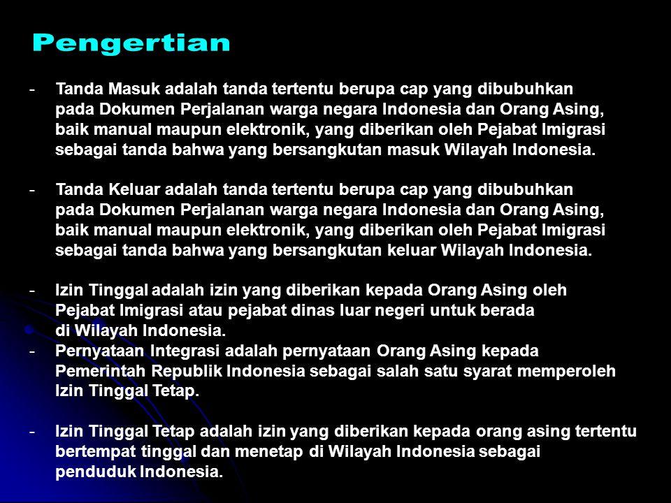 Undang-Undang Nomor 6 Tahun 2011 tentang Keimigrasian IZIN TINGGAL TETAP Pasal 60 (1)Izin Tinggal Tetap bagi pemohon sebagaimana dimaksud dalam Pasal 54 ayat (1) huruf a diberikan setelah pemohon tinggal menetap selama 3 (tiga) tahun berturut-turut dan mendatangani Pernyataan Integrasi kepada Pemerintah Republik Indonesia.