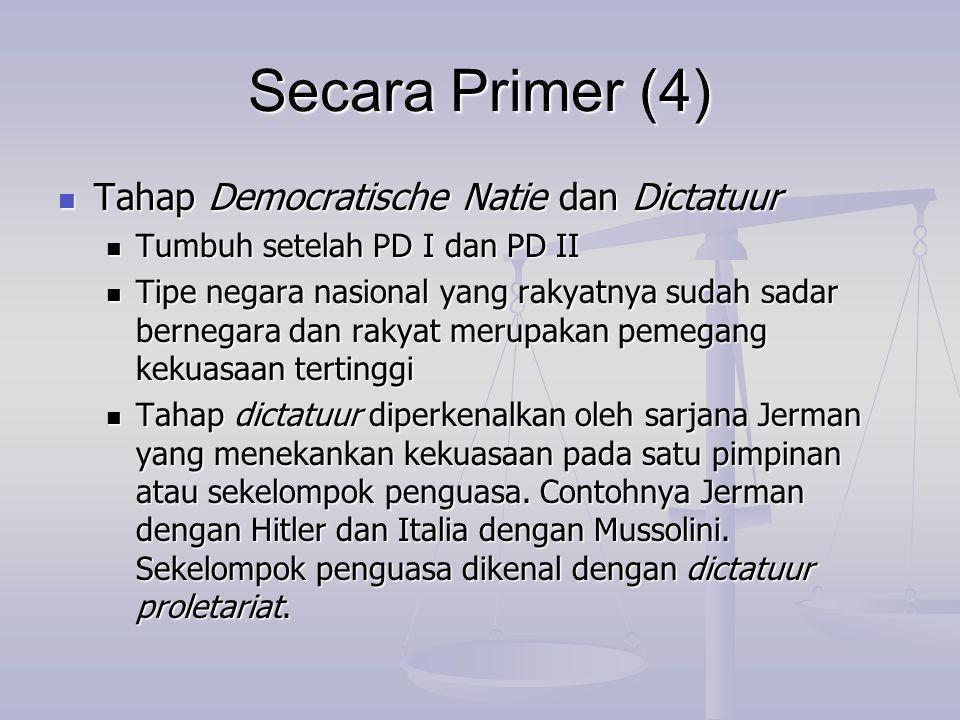 Secara Primer (4) Tahap Democratische Natie dan Dictatuur Tahap Democratische Natie dan Dictatuur Tumbuh setelah PD I dan PD II Tumbuh setelah PD I da