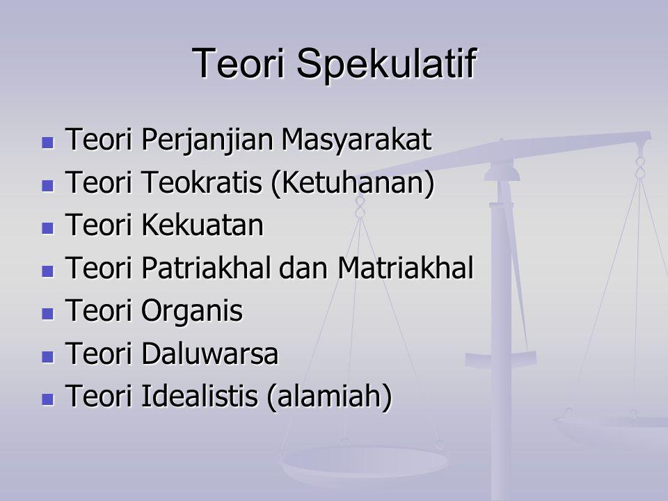 Teori Spekulatif Teori Perjanjian Masyarakat Teori Perjanjian Masyarakat Teori Teokratis (Ketuhanan) Teori Teokratis (Ketuhanan) Teori Kekuatan Teori