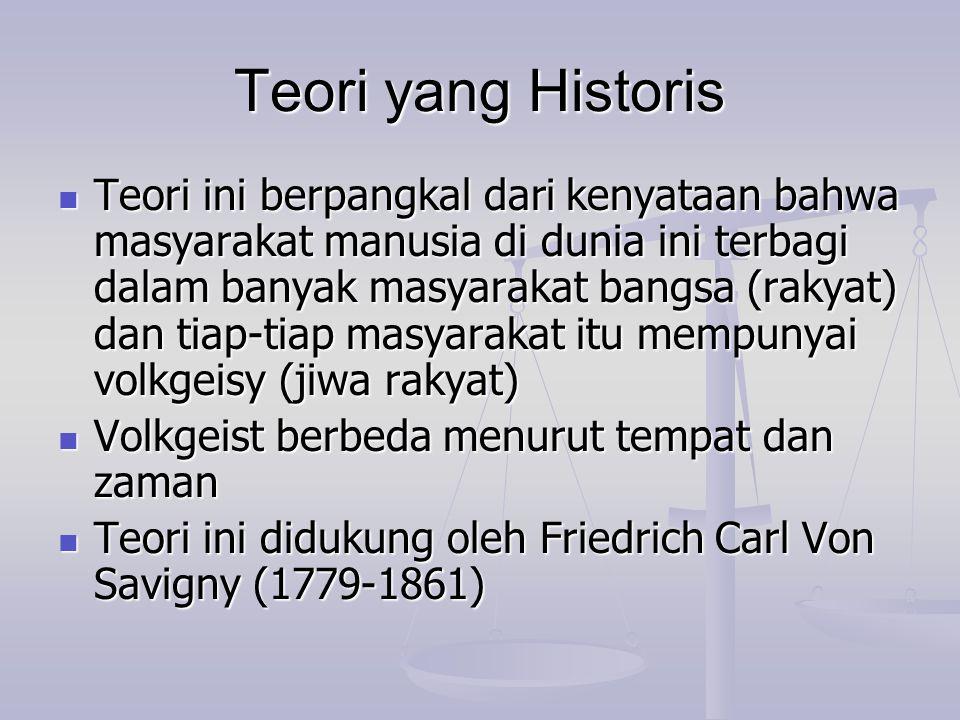 Teori yang Historis Teori ini berpangkal dari kenyataan bahwa masyarakat manusia di dunia ini terbagi dalam banyak masyarakat bangsa (rakyat) dan tiap