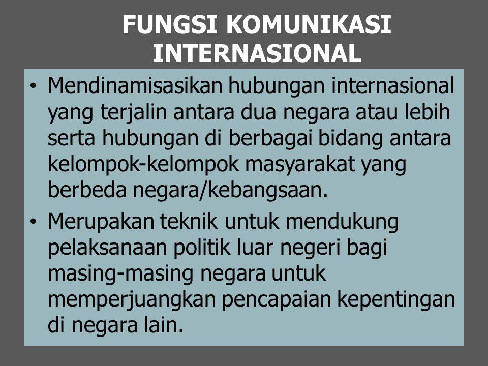 FUNGSI KOMUNIKASI INTERNASIONAL Mendinamisasikan hubungan internasional yang terjalin antara dua negara atau lebih serta hubungan di berbagai bidang a