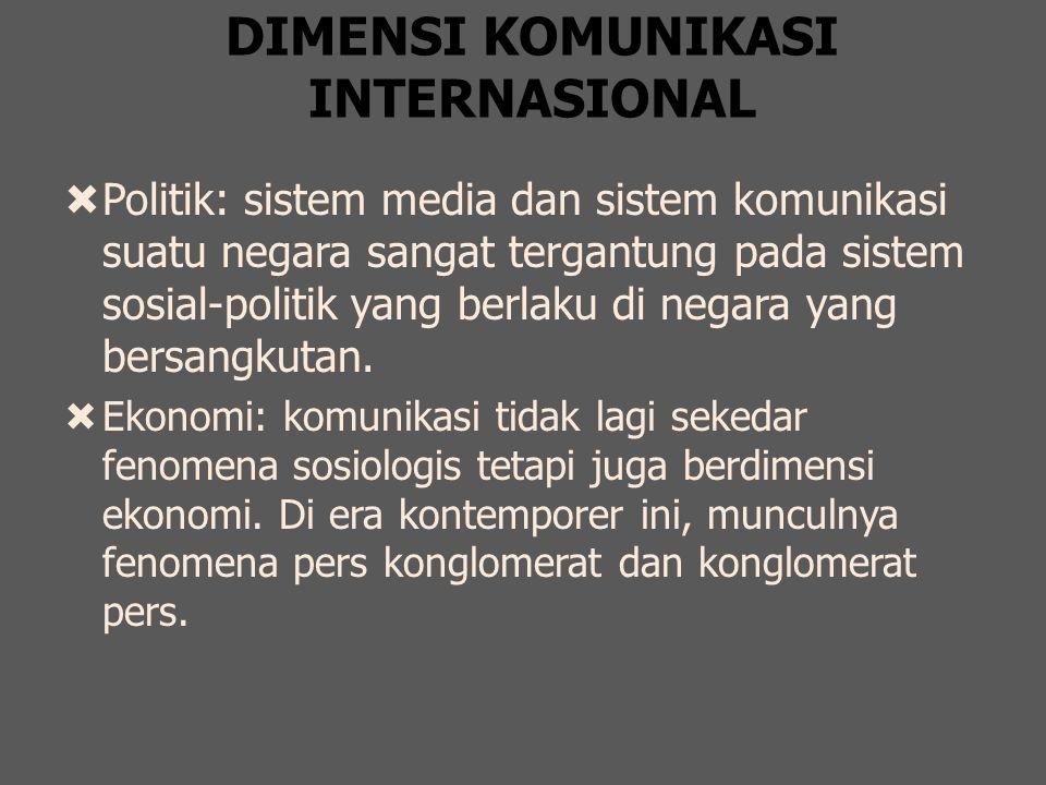 DIMENSI KOMUNIKASI INTERNASIONAL  Politik: sistem media dan sistem komunikasi suatu negara sangat tergantung pada sistem sosial-politik yang berlaku