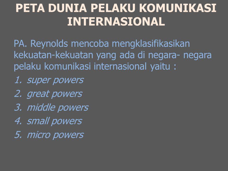 PETA DUNIA PELAKU KOMUNIKASI INTERNASIONAL PA. Reynolds mencoba mengklasifikasikan kekuatan-kekuatan yang ada di negara- negara pelaku komunikasi inte