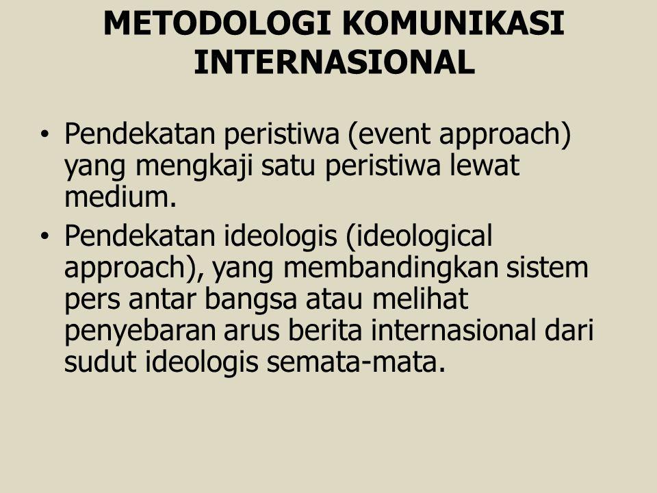 METODOLOGI KOMUNIKASI INTERNASIONAL Pendekatan peristiwa (event approach) yang mengkaji satu peristiwa lewat medium. Pendekatan ideologis (ideological
