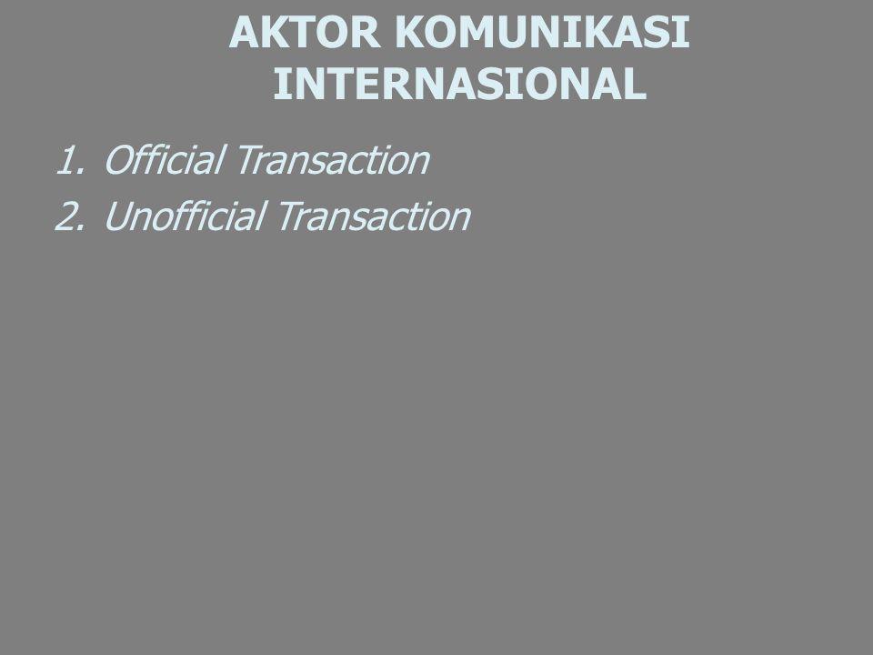 AKTOR KOMUNIKASI INTERNASIONAL 1.Official Transaction 2.Unofficial Transaction